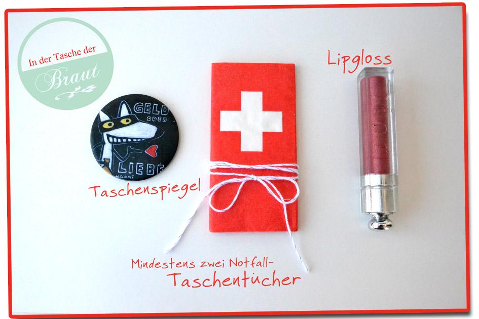 Drei Dinge für die Handtasche der Braut - auf einhochzeitsblog.com