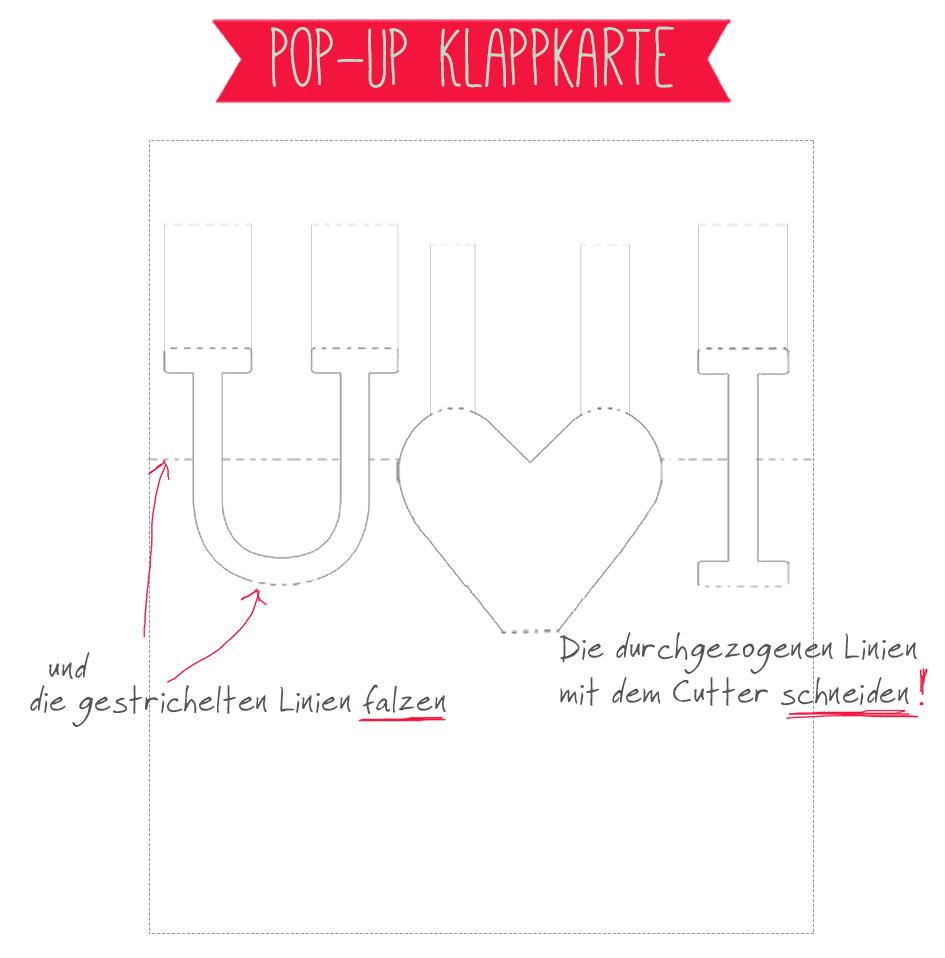 Freebie auf einhochzeitsblog.com: Pop-Up Karte als Liebesbeweis!
