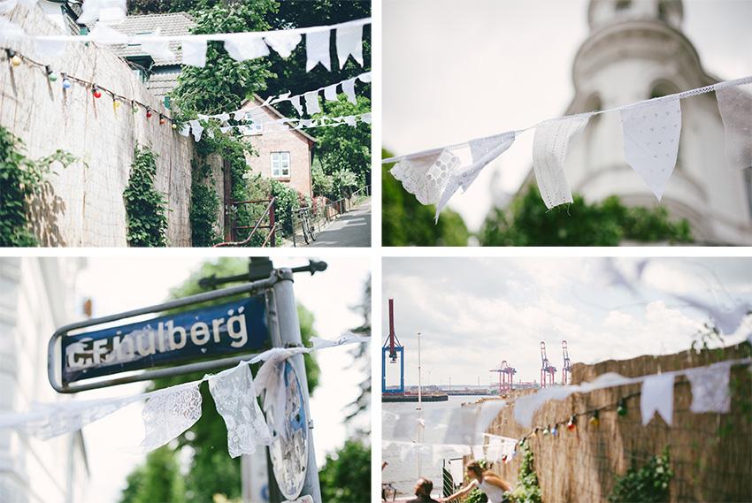 Spitzengirlande für die traumhochzeit am Elbstrand in Hamburg auf einhochzeitsblog.com