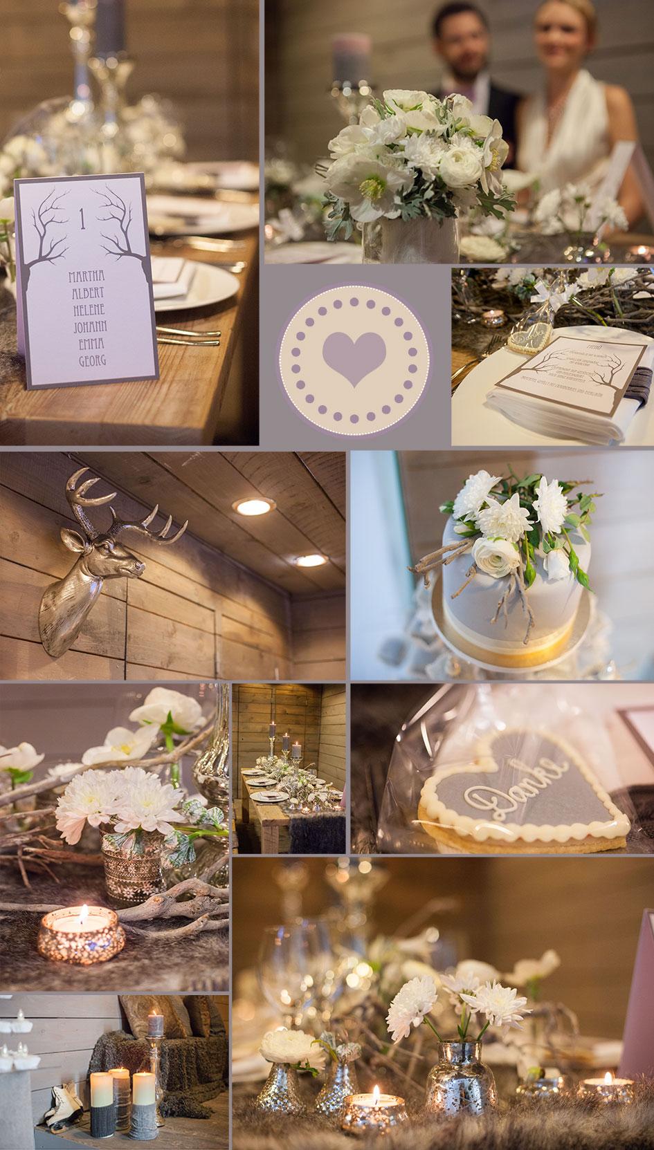Moodboard for a romantical winter wedding