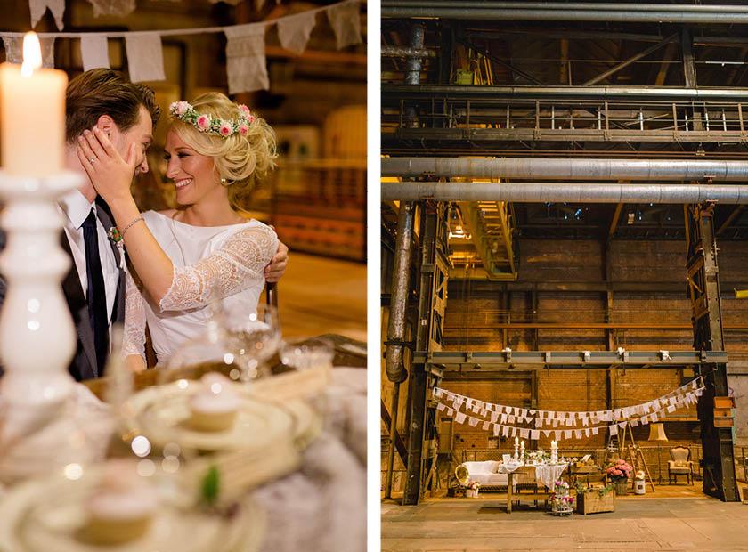 Hochzeit in Fabrikhalle