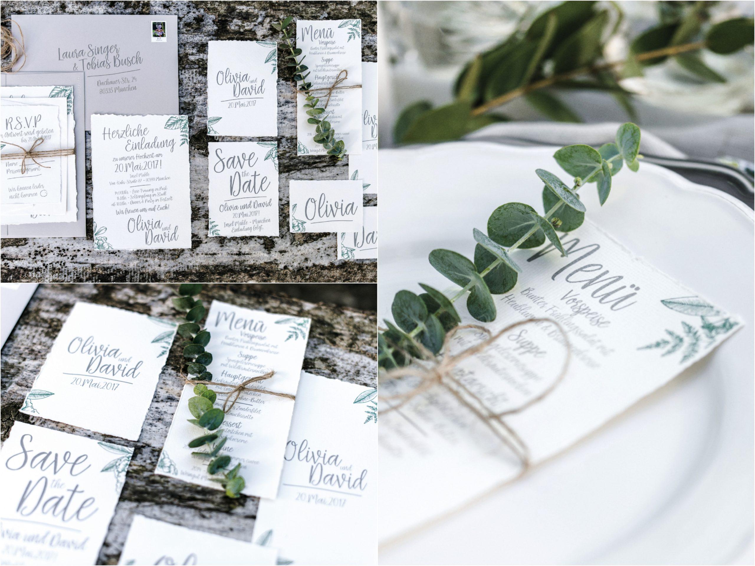 Hochzeitspapeterie mit Greenery von Cari'z Design