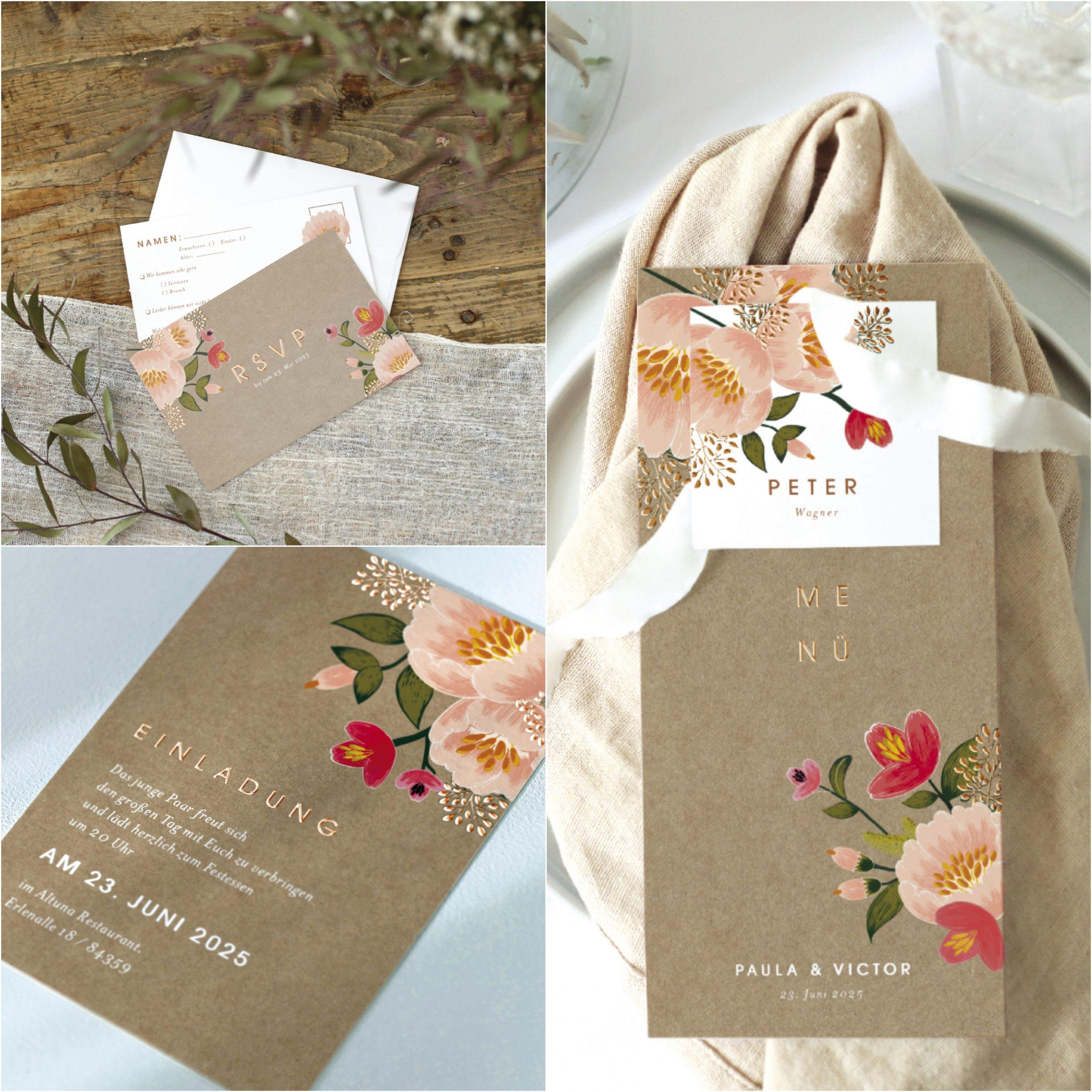 Papeterie mit floralen und haptischen Details von Cottonbird