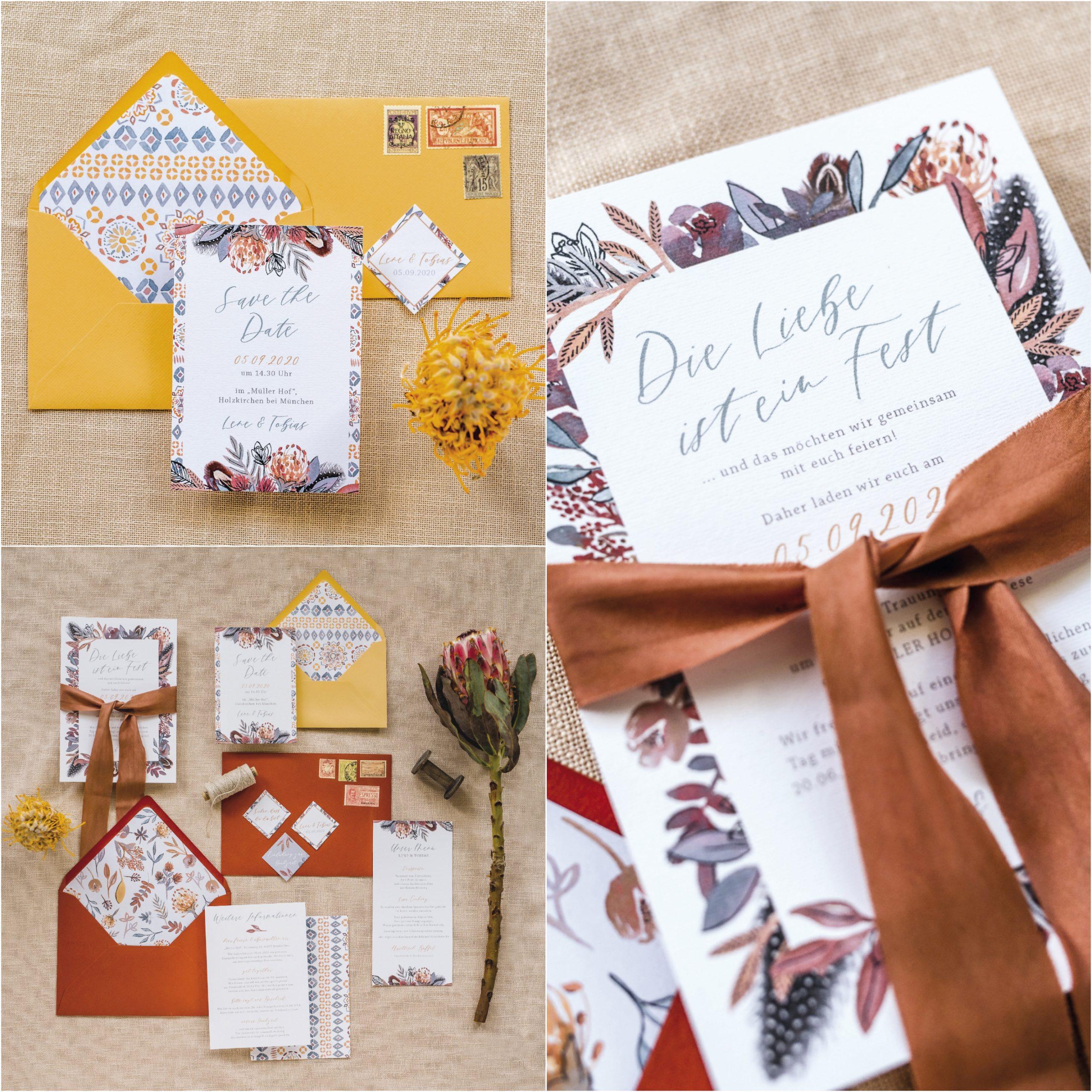 Hochzeitspapeterie in warmen Erdtönen von Farbgolddesign