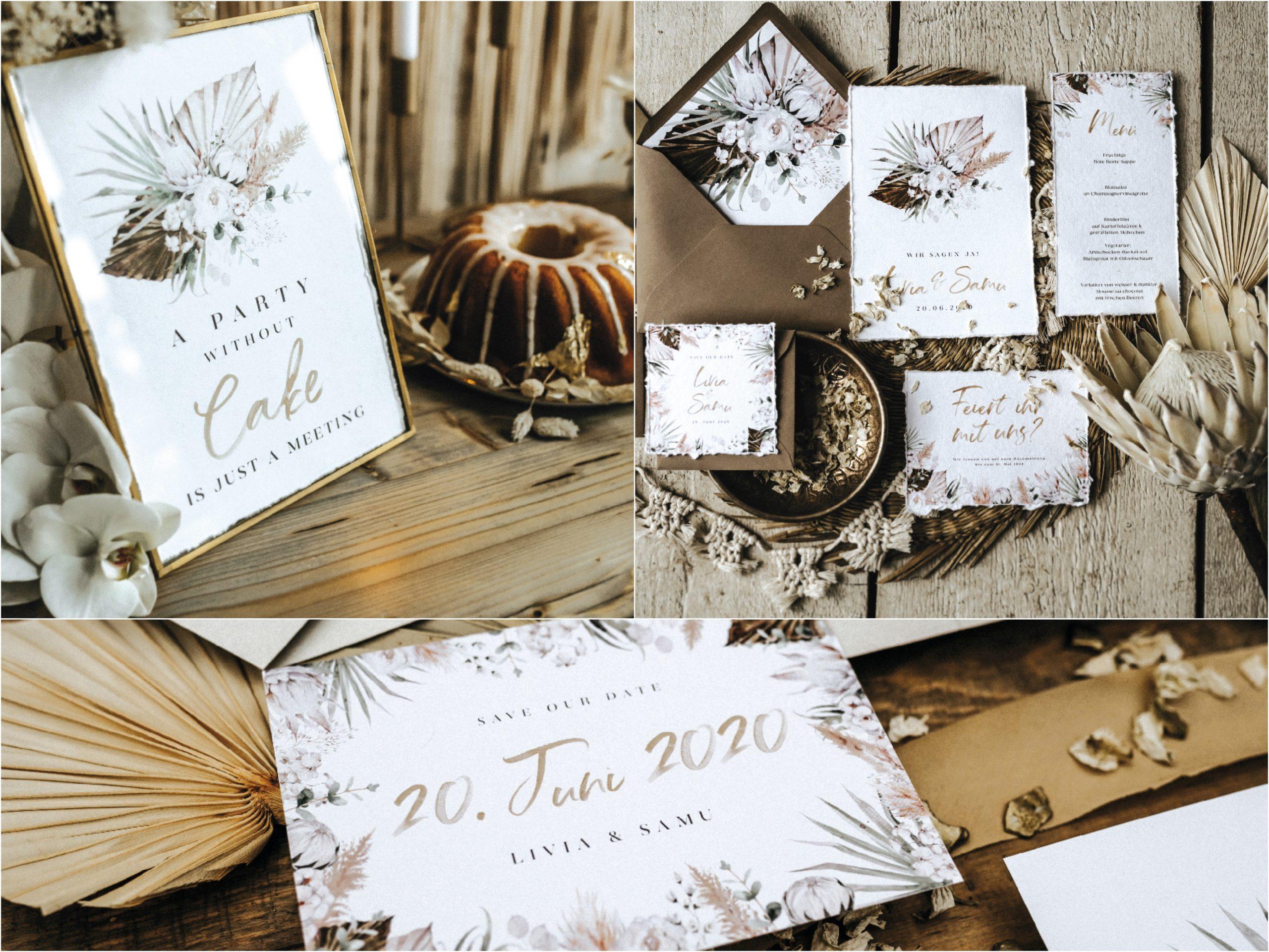 Hochzeitspapeterie in warmen Naturtönen von Worldchild Wedding
