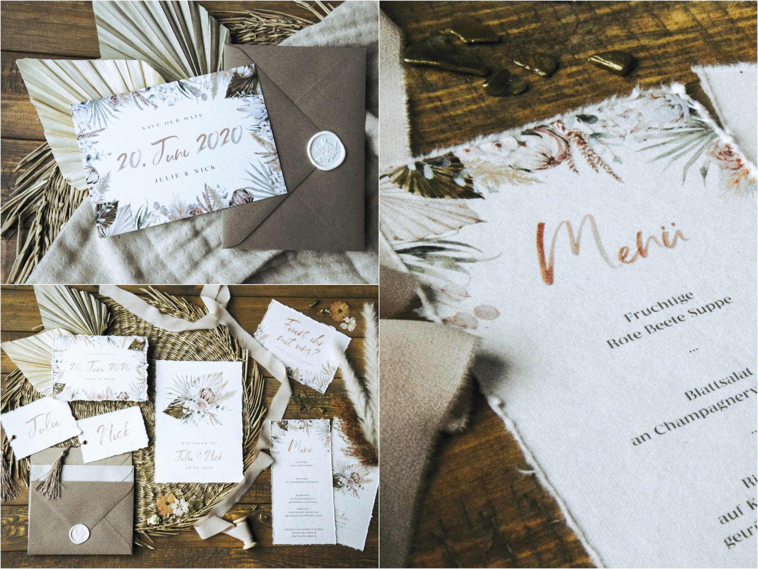 Hochzeitspapeterie im Boho-Stil von Worldchild Wedding